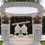 White Outdoor Theme Wedding Mandap