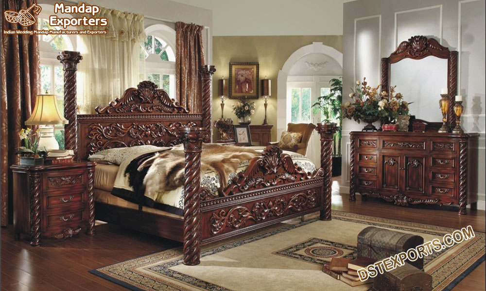 Modern King Size Bedroom Furniture Set Mandap Exporters
