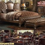 Antique Brown Finish Master Bedroom Furniture