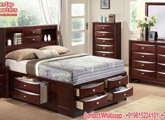 Antique Teak Wood Storage Bed For Bedroom