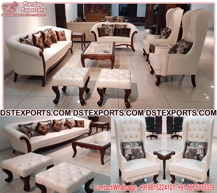 Modern Teak Wood Living Room Sofa Set Mandap Exporters