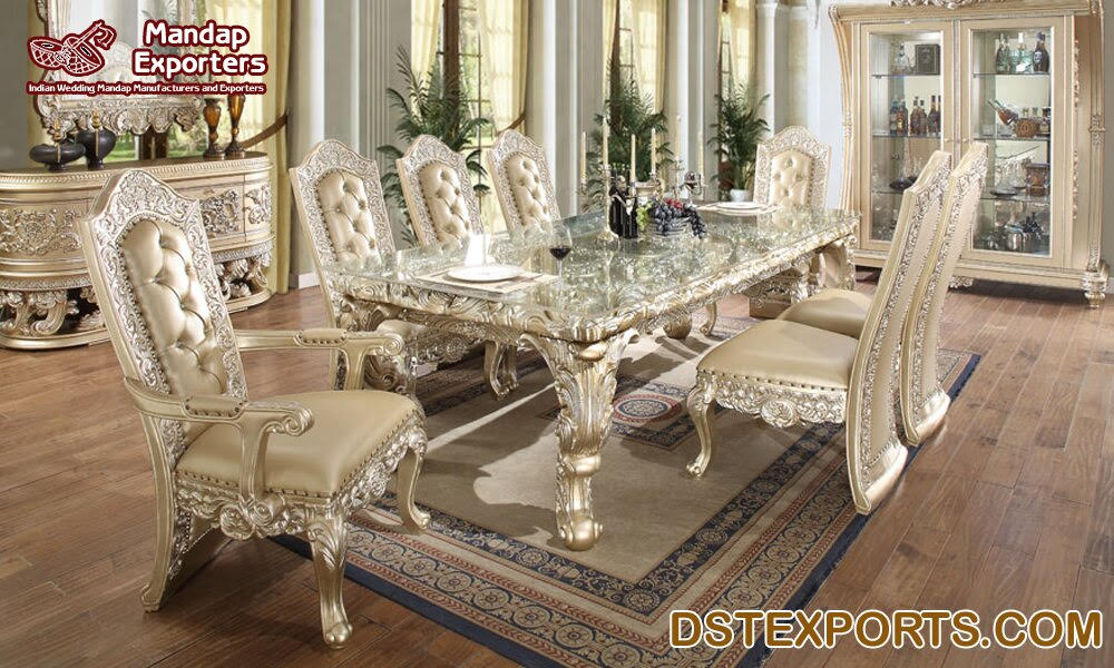 White Victorian Dining Room Furniture Set Mandap Exporters
