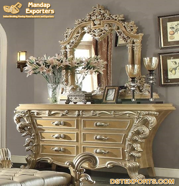Luxury Bedroom Dresser With Mirror Mandap Exporters