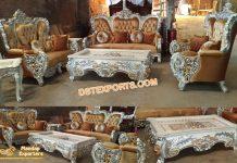 Silver Carved Wooden Living Room Sofa Set