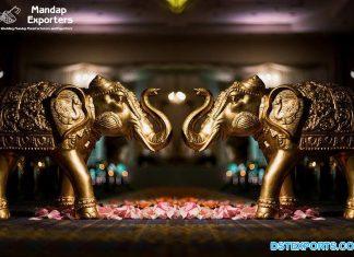 Golden Fiberglass Elephant Statues for Wedding Decor