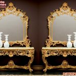 Antique Carved Console Table With Mirror