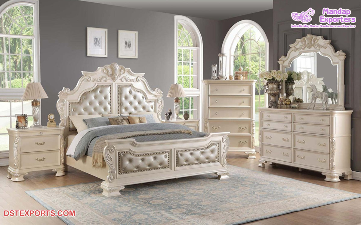 Classic Hand Carved White Bedroom Furniture Set Mandap Exporters