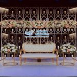 Gold Metallic Candle Wall For Wedding Stage