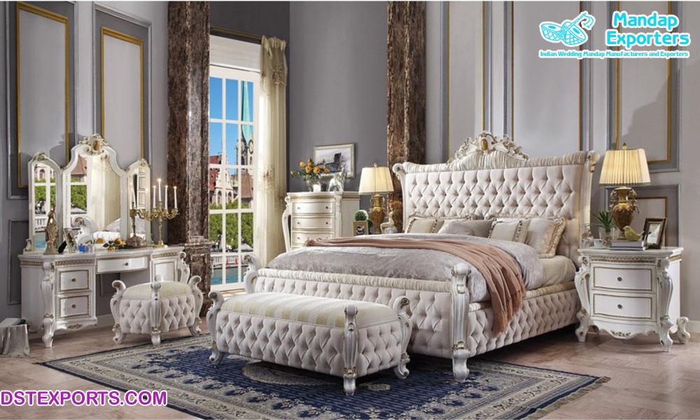 Modern White Finish Solid Wood Bedroom Furniture Mandap Exporters