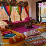 Colorful Indian Mehndi Sangeet Stage Decoration