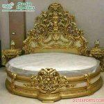 Designer Gold Finish Handicraft Wooden Bed