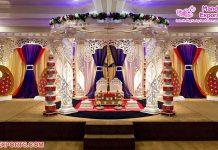 Elegant White Crystal Wedding Mandap Decor