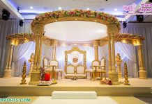 Royal Wedding Ceremony Wooden Look Fiber Mandap