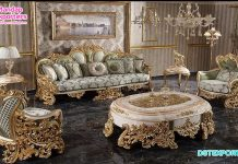 French Style 5 Seater Sofa Set For Living Room