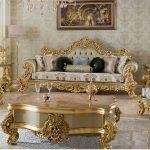 Golden Finish 5 Seater Living Room Sofa Set
