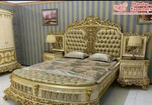 Handmade Queen Size Gold Carved Bed & Nightstand