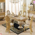 Italian Hand Carved Gold Carving Dining Set