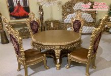 Luxurious Gold Teak Wood Dining Table & Chairs