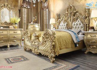Luxury Golden Wood Hand Carved Bedroom Furniture