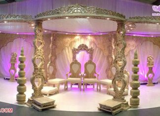 Majestic Heart Shape Wooden Wedding Mandap