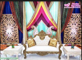 Vibrant Hindu Wedding Mehndi Sangeet Stage