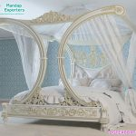 Antique Pearl White Canopy Queen Size Bed