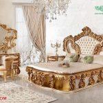 Gold White Solid Wood Bedroom Furniture Set