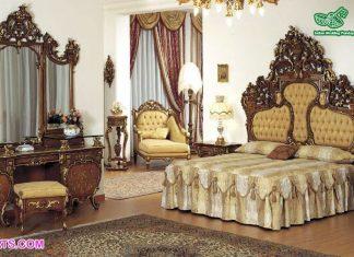 Luxury Natural & Gold Queen Size Bedroom Set