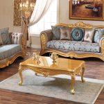 Royal Style Designer Wood Living Room Sofa Set