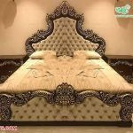 Solid Wood Black Silver Bed With Side Tables