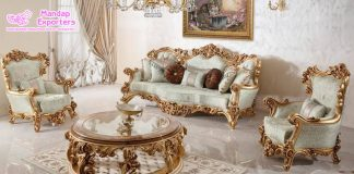 Antique High Gloss Wooden Carved Sofa Set