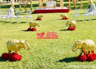 Golden Elephant Statues at Wedding Entrance