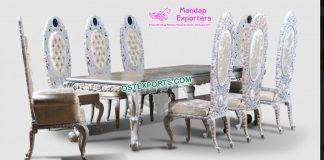 Luxury White Polished Designer Dining Furniture