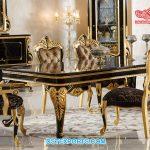 Modern Black Gold Finish Dining Table Set
