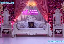 Royal White Wedding Thrones for Bride Groom