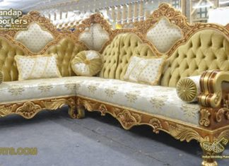 Antique Carving L Shape Corner Sofa