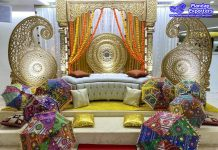 Beautiful South Indian Theme Mehendi Stage