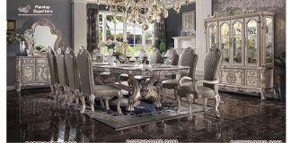 Classy Upholstered Carved Dining Room Table set