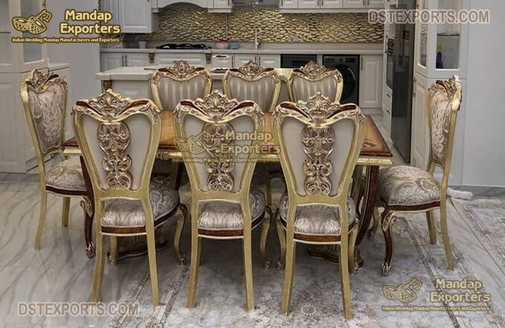 French Dual Carved Teak Dining Furniture