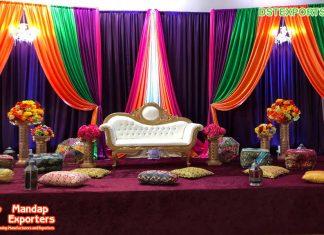 Mehndi Stage Decor Multi Color Backdrops