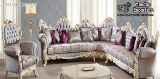 Royal Wooden Carved L Shape Sectional Sofa Set