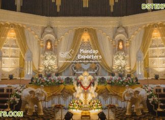 Traditional Tamil Hindu Wedding Reception Stage