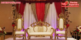 Wedding Stage White & Gold Loveseat & Chair