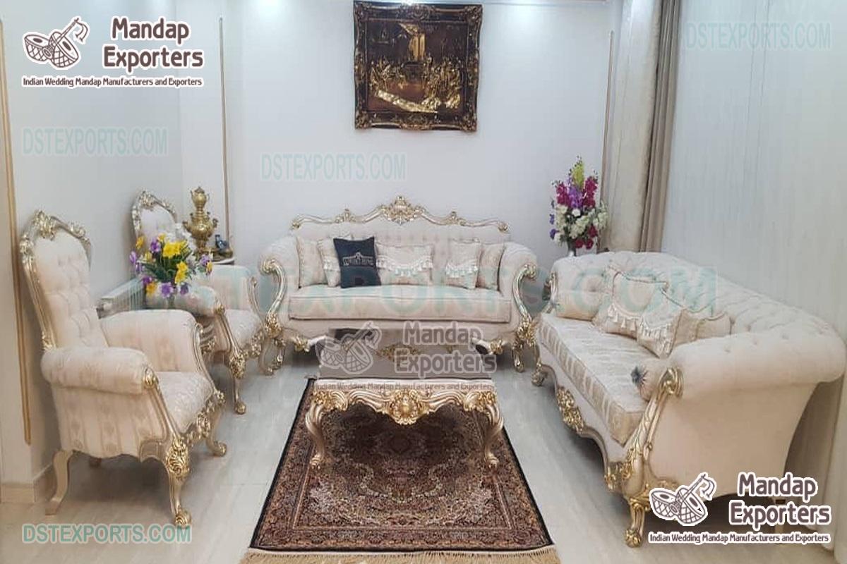 White Gold PU Finish Living Room Sofa Set