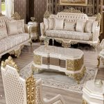 Antique Gold Living Room Furniture Set