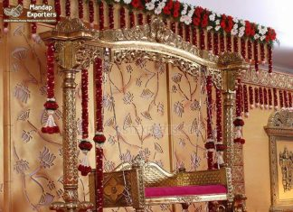 Antique Gold Peacock Base Wedding Stage Swing