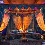 Arabian Turquoise Themed Mehndi Stage Decoration