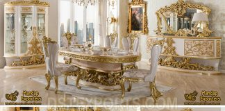 Baroque Upholstery Wooden Dining Table Furniture