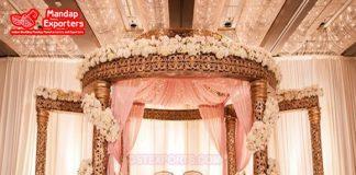 Fanciable Golden Carved Wedding Mandap USA