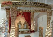 Glamouring Golden FRP Crystal Wedding Mandap